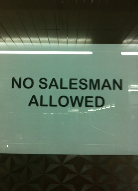 It just sounds so specific. The salesman. Not salesmen. Just the one.